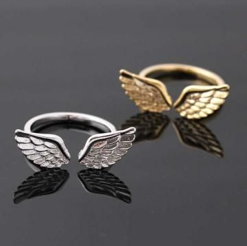silver angel wing ring, adjustable by bythecoco for $15.00