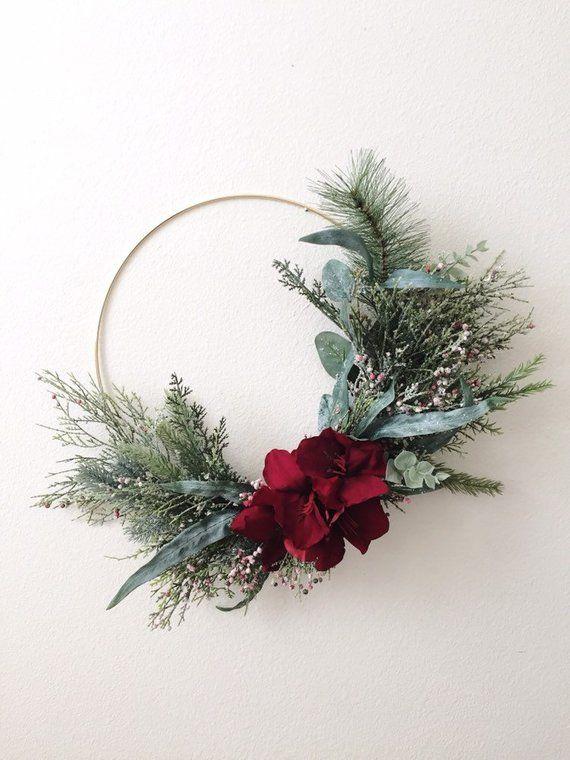 Photo of Christmas Wreath, Modern Wreath, Modern Christmas, Hoop Wreath, Modern Christmas Wreath, Greenery Wreath, Holiday Wreath, Front Door, Winter