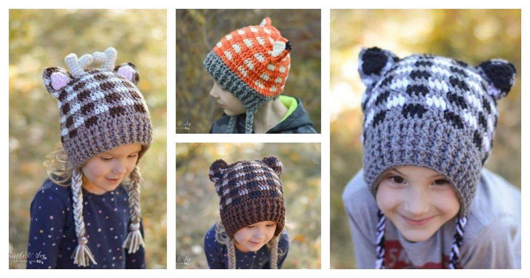Tutorial >> DIY Crochet Plaid Woodland Animal Hats | crochet baby ...
