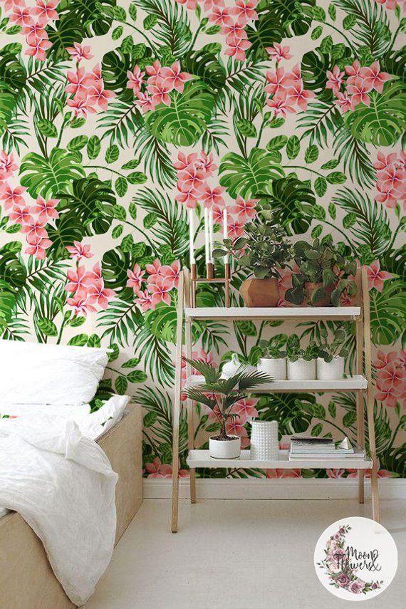 Bright Hawaii removable wallpaper, Watercolor wall mural