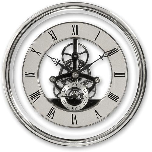 Woodturning 150mm skeleton clocks in chrome Theme Gears