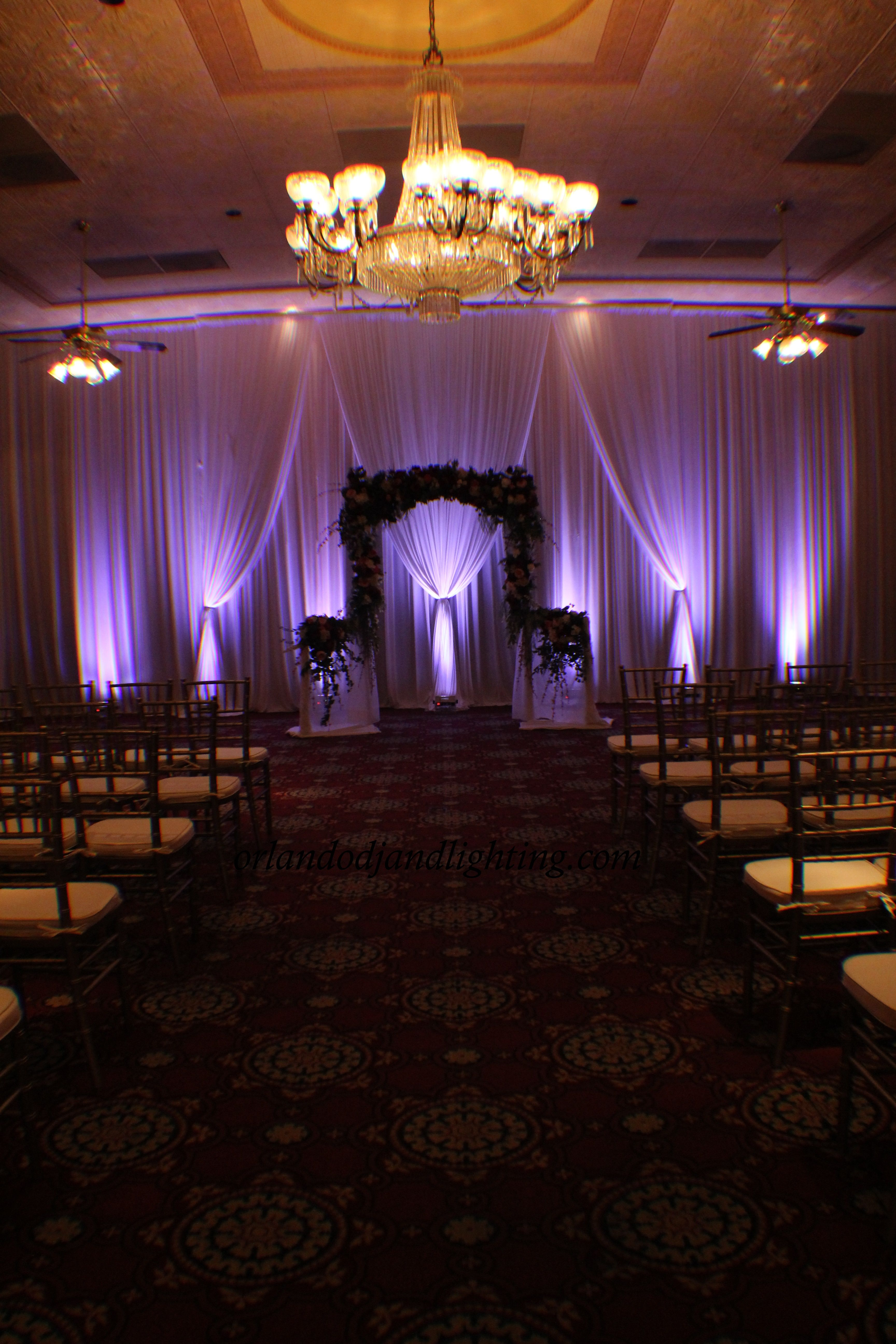 wedding venues on budget in california%0A Maitland art center wedding mint green uplighting and    foot premuim white  draping head table backdrop  Centerpiece and florals were highlighted b u