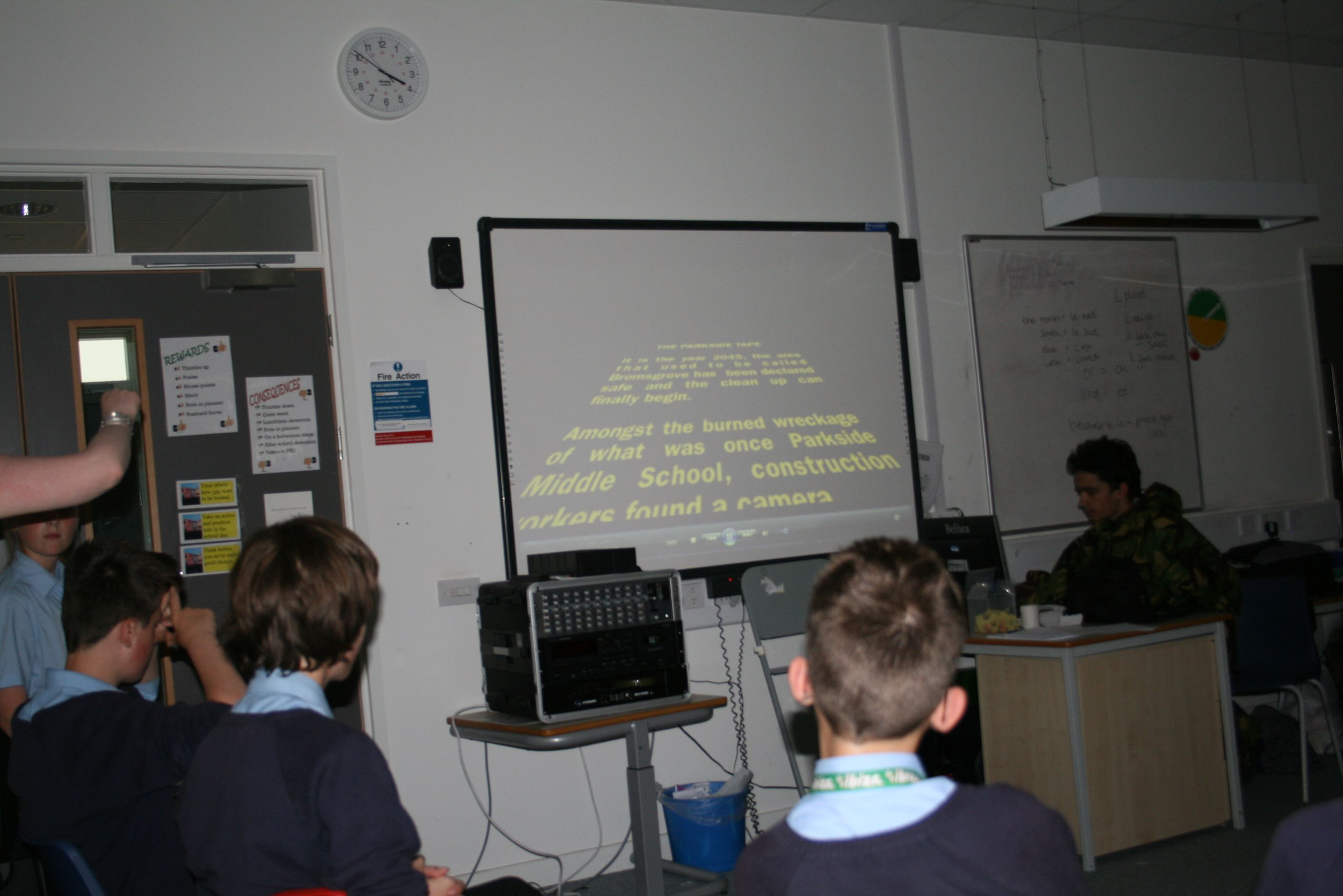 Here is a photo of the young people watching their work