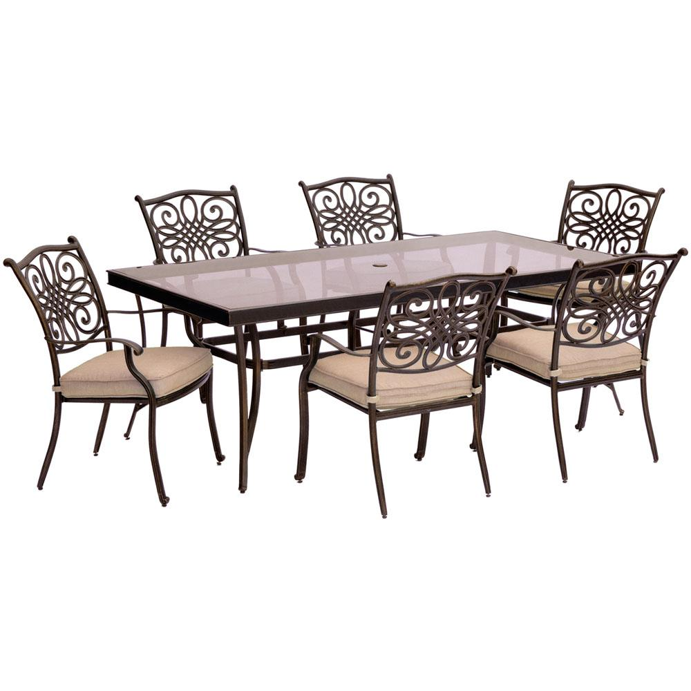 Cambridge Seasons 7 Piece Aluminum Outdoor Dining Set With Tan