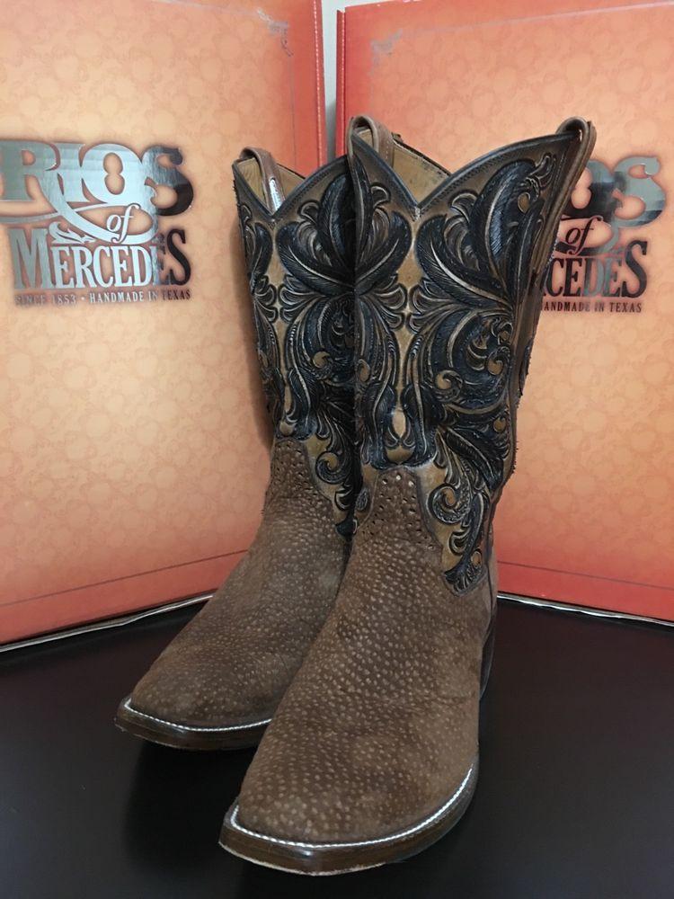 b0fce1b850a Rios of Mercedes Mens Carpincho/Capybara Cowboy Boots Size 9.5C ...