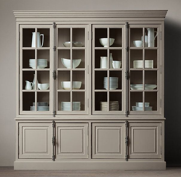 Dining Room China Cabinet Restoration Hardwares French Casement Sideboard And Hutch In Distressed Taupe