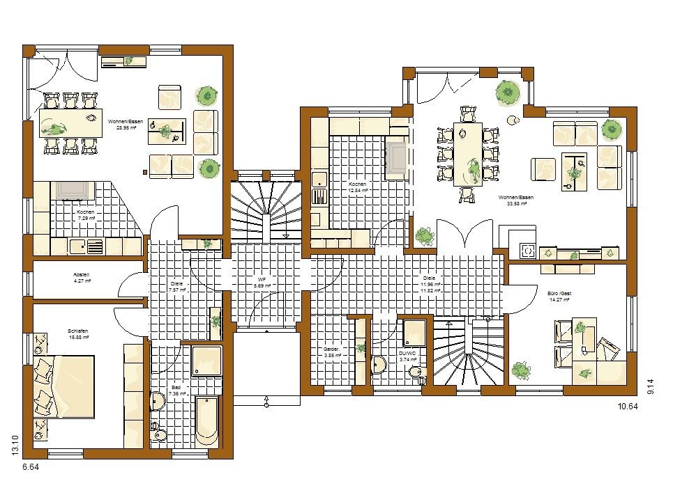 Stadtvilla Atlanta Grundriss Erdgeschoss Einfamilienhaus