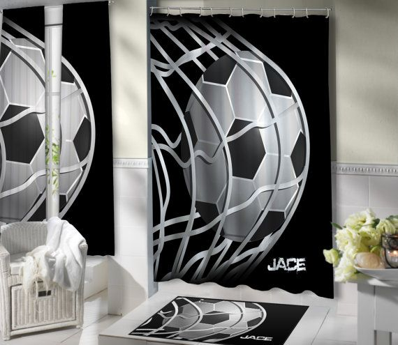 Oversized Polyester Soccer Shower Curtain EloquentInnovations