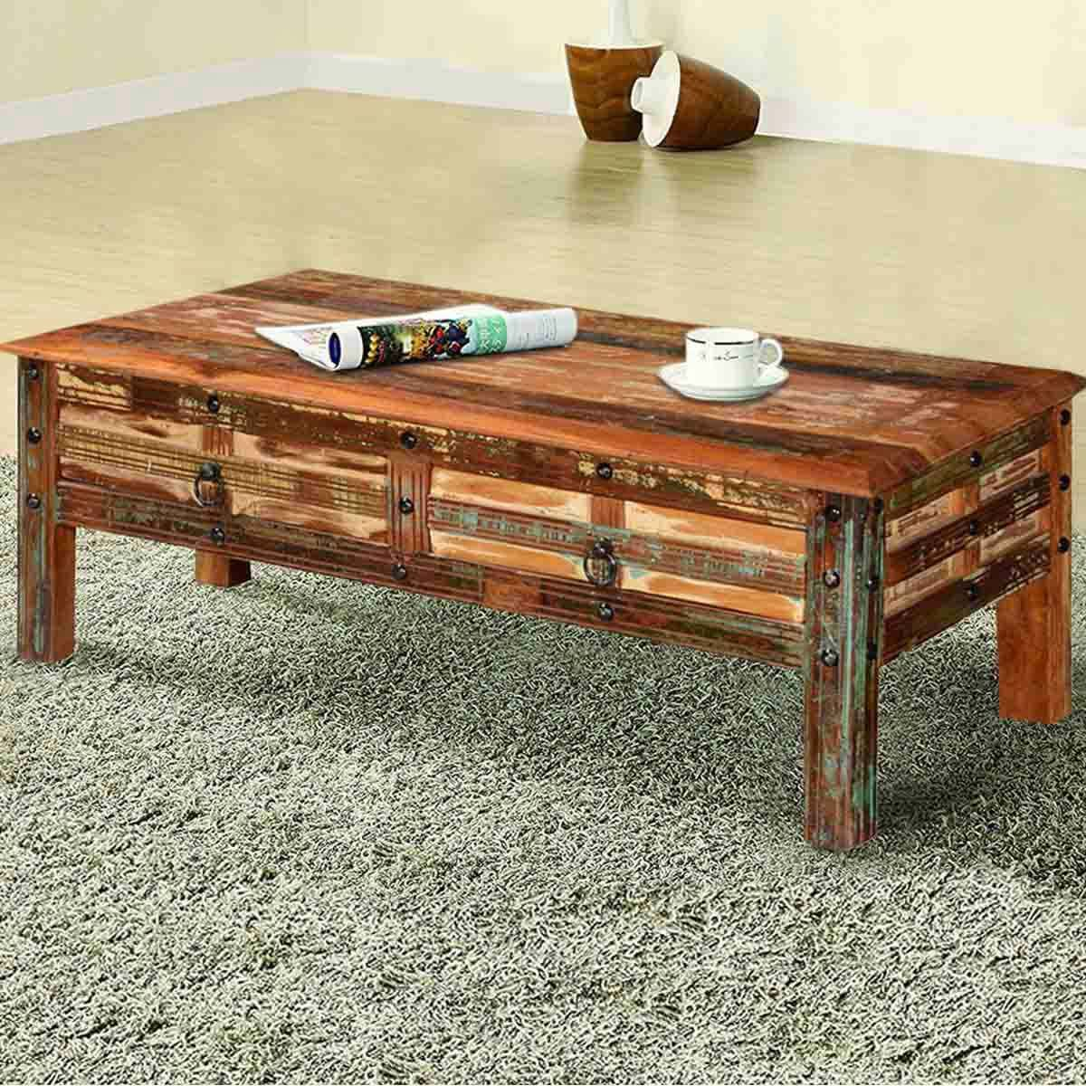 Pioneer Rustic Reclaimed Wood 2 Drawer Coffee Table In 2021 Wood Coffee Table Rustic Wood Coffee Table Design Rustic Coffee Tables [ 1200 x 1200 Pixel ]
