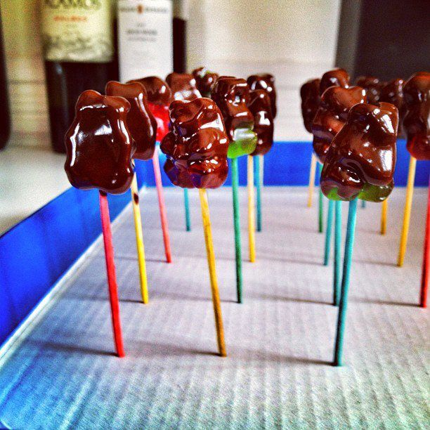 For treat for a kids party - chocolate covered gummy bears. Easy peasy treat.