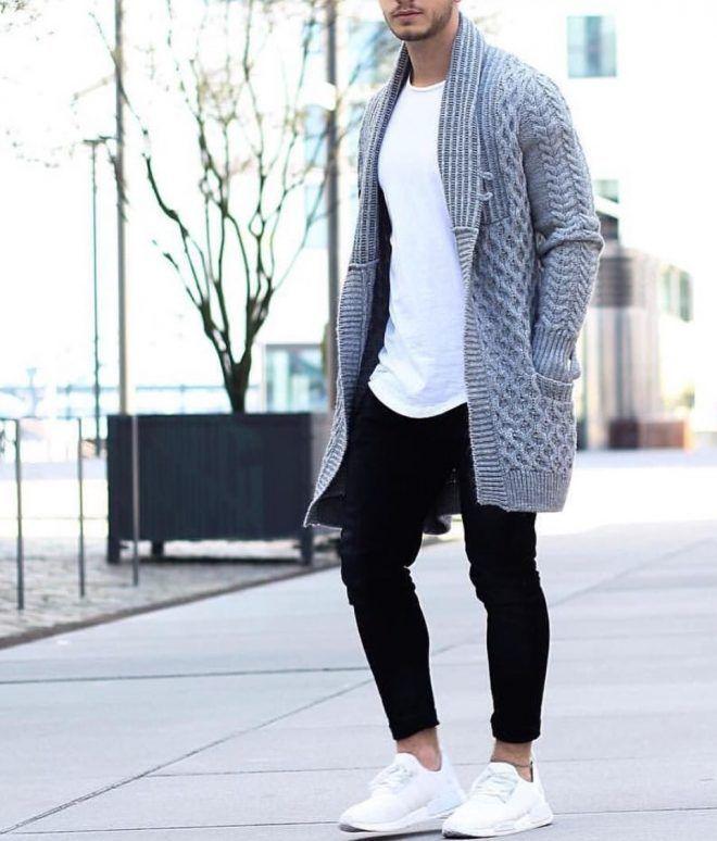 0085df8c84e Gray Basketweave Drop Cardigan, Urban Street Style, Men's Spring ...