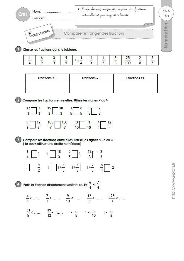 Exercices Sur Les Fractions Cm2 : exercices, fractions, Épinglé, Fractions