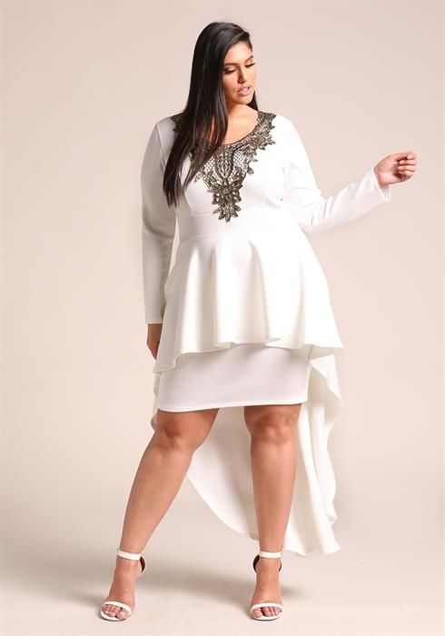 Plus Size Embroidered Peplum Waterfall Hi Lo Dress Super Thick