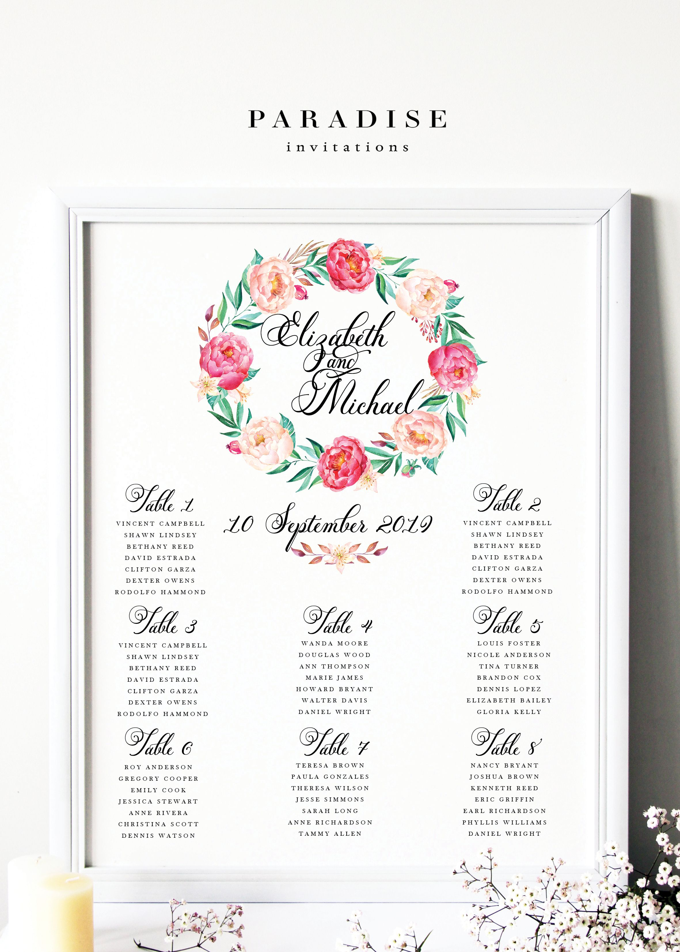 Wedding Table Seating Chart Watercolour Flowers Wreath By