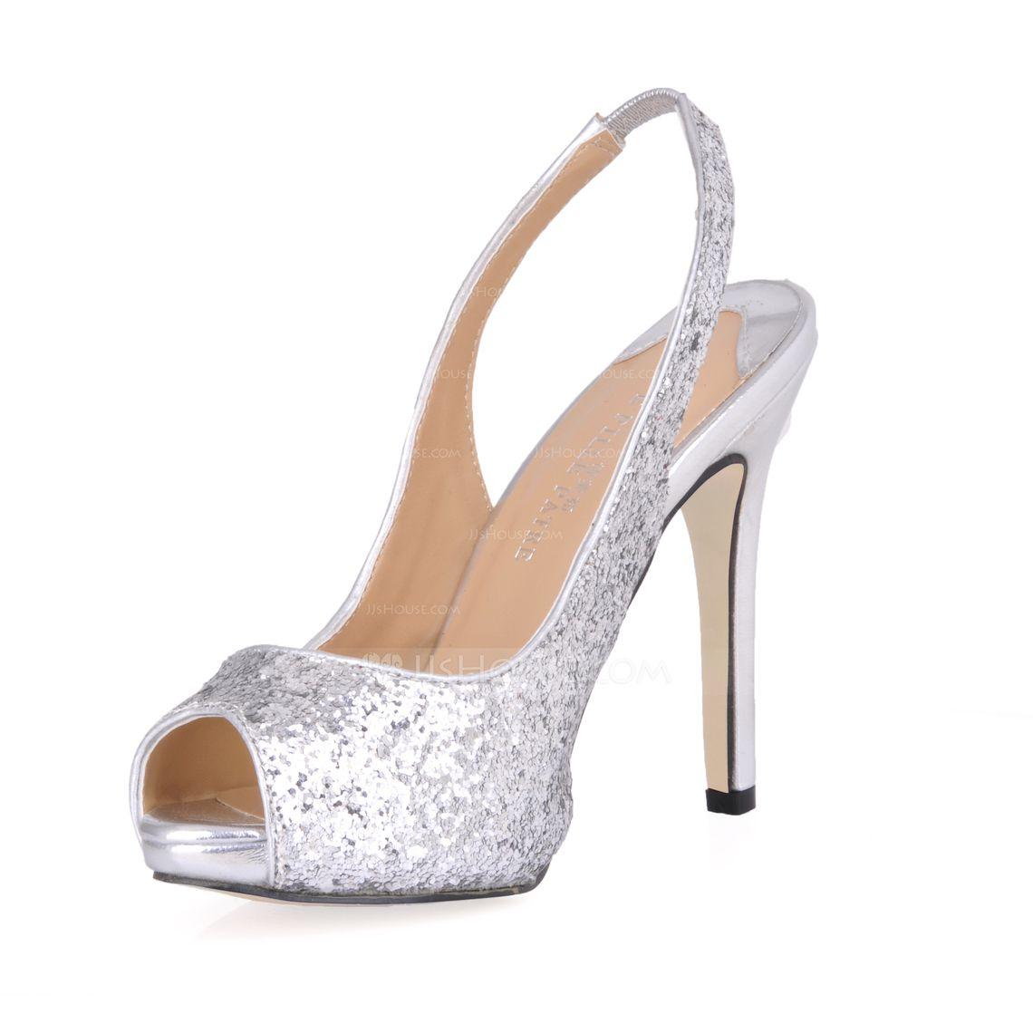 Women's Peep Toe Sandals Slingbacks Stiletto Heel Sparkling Glitter Sequin Wedding Shoes