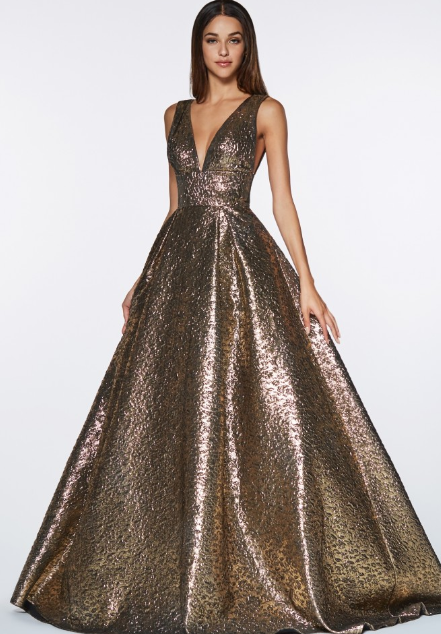 Copper Metallic Brocade Gown | Gorgeous prom dresses, Ball dresses,  Metallic prom dresses