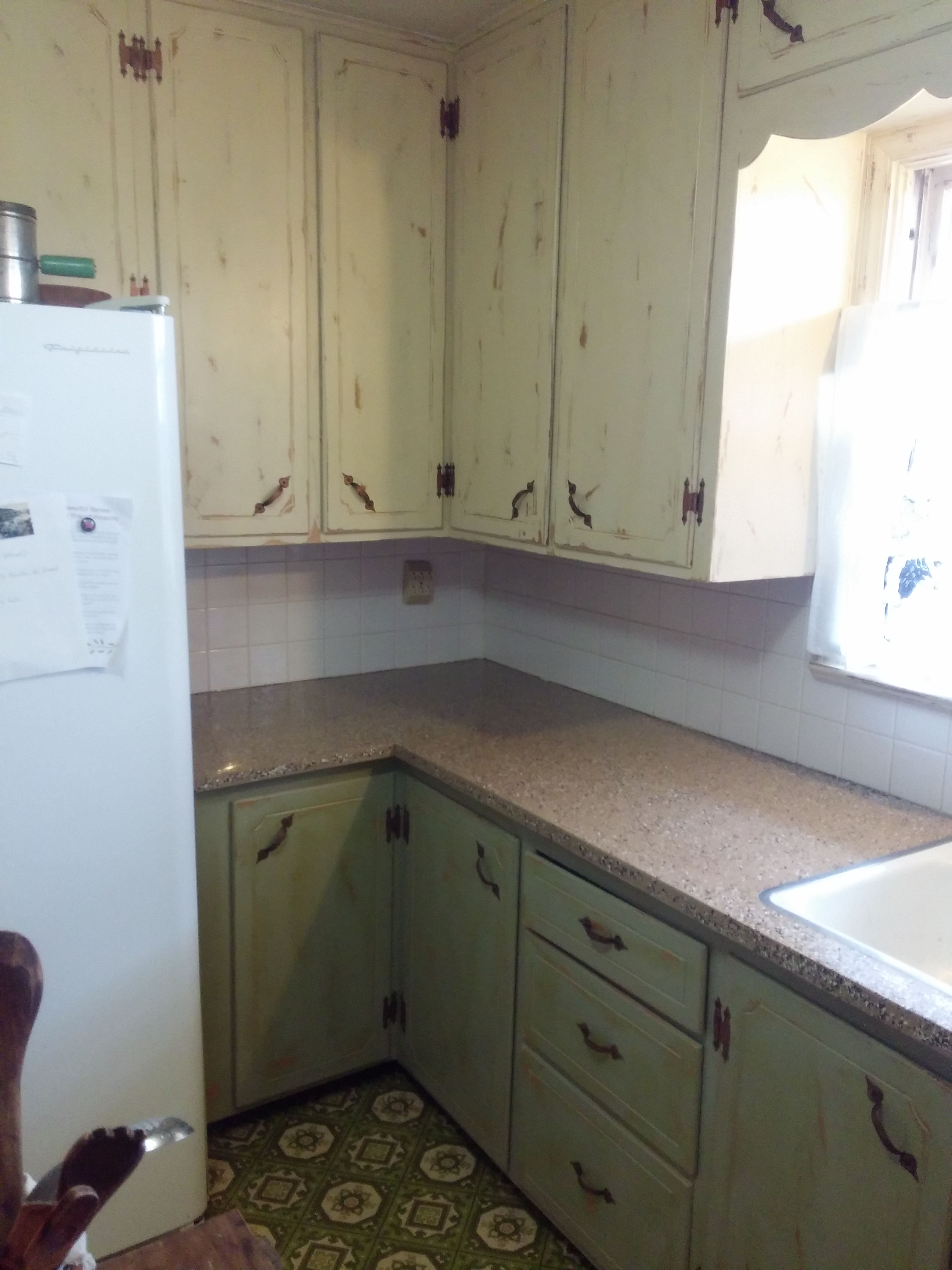 Chalk Painted These Kitchen Cabinets And Then Roughed Them Up Kitchen Kitchen Cabinets Cabinet