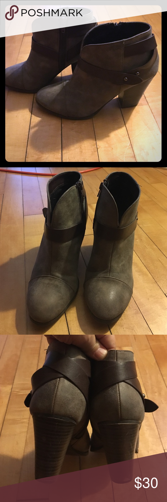 Grey booties, brown details and chunky heal, S7 Grey shoedazzle booties with brown strap details and chunky heal, size 7, worn a handful of times last winter so really good condition! Shoe Dazzle Shoes Ankle Boots & Booties