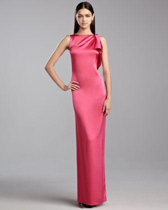 48ab285d96a407 Liquid Satin Drape Gown, Haute Pink by St. John Collection at Neiman Marcus.