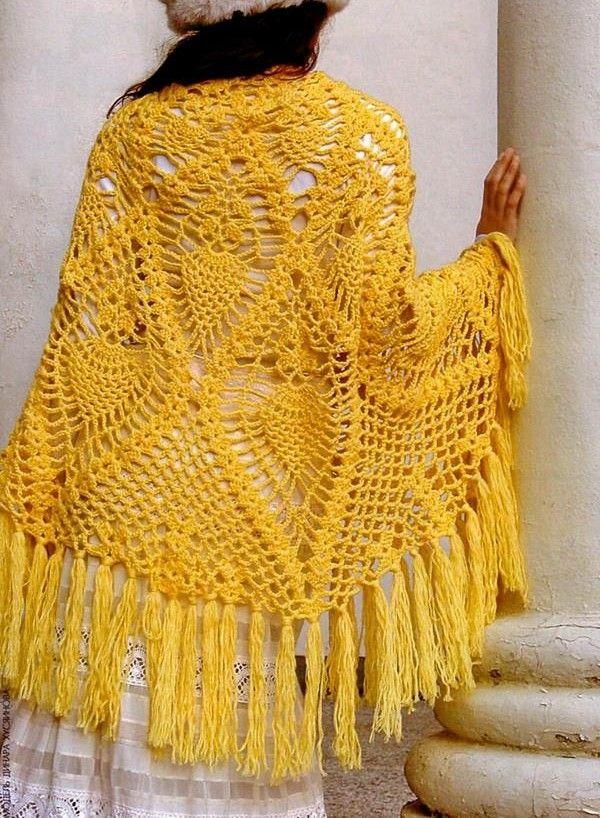 Precioso Chal semicírculo en Crochet con Patrones | Ponchos ...