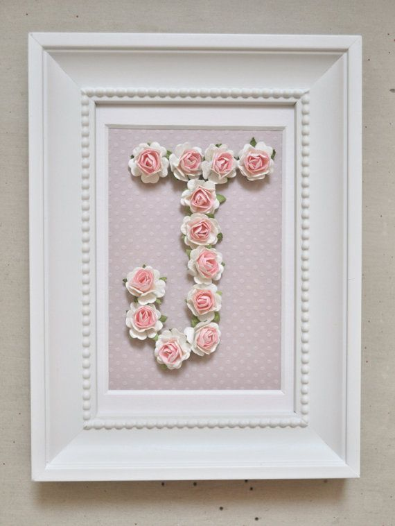 Rose Personalized Initial Frame CUSTOMIZABLE You by shopbowholic ...