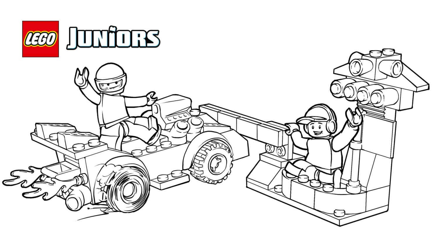 Lego Juniors Race Car Pit Stop Coloring Page