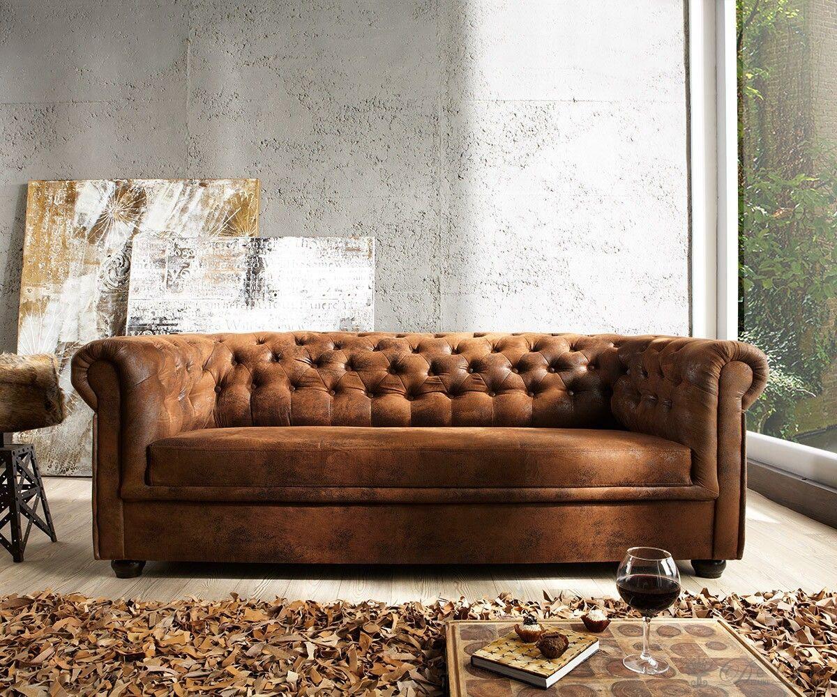 Chesterfield ecksofa stoff grau  Sofa Chesterfield Braun Wildlederoptik 3-Sitzer | Sofaträume ...