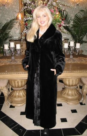 classic sheared mink with long hair mink collar and tuxedo front, reversible weather resistant microfiber.