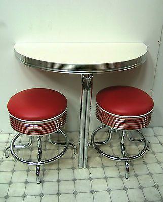 retro furniture 50s diner pedestal 1 2 round kitchen table wo12 rh pinterest at