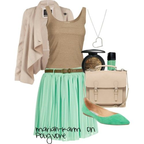 Mint flowy skirt with tan accessories