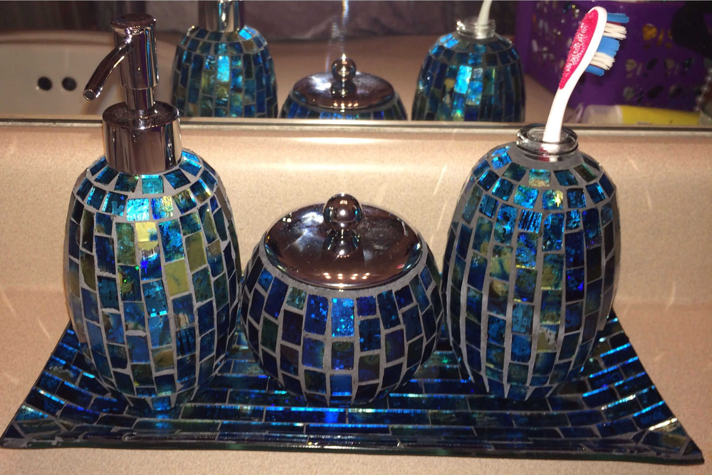 Blue Turquoise And Green Mosaic Bathroom Accessories Set Found At Steinmart