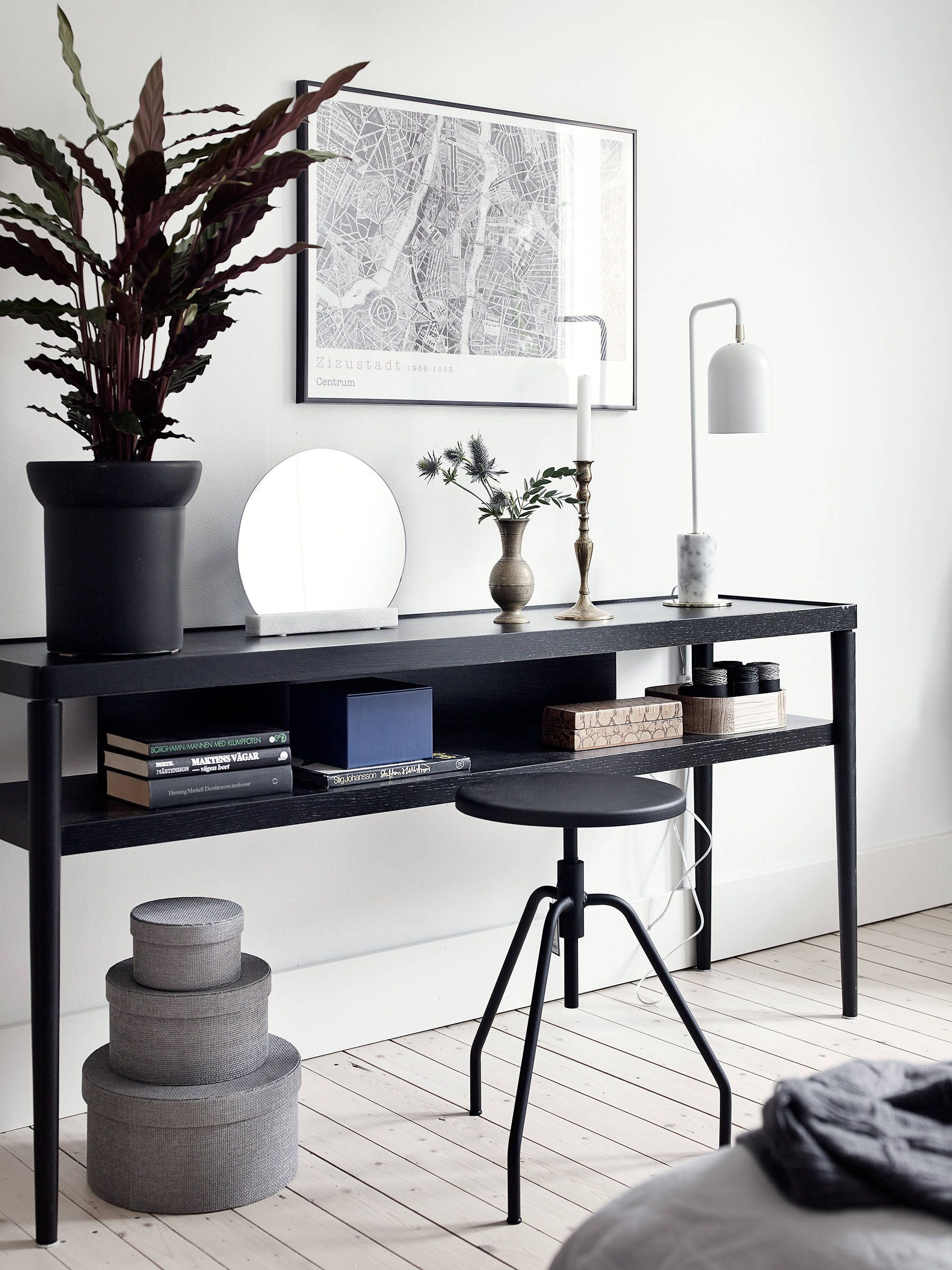 black decor in a white interior workspace black decor black rh pinterest com