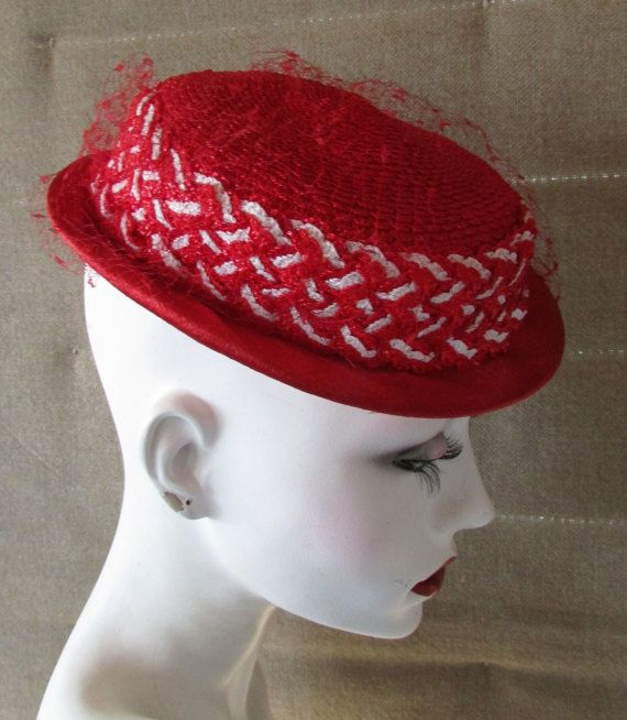 Vintage 1950's Hat Red Hat Straw with Hand Braided Band and Netting Slim Brim Tilt Fedora