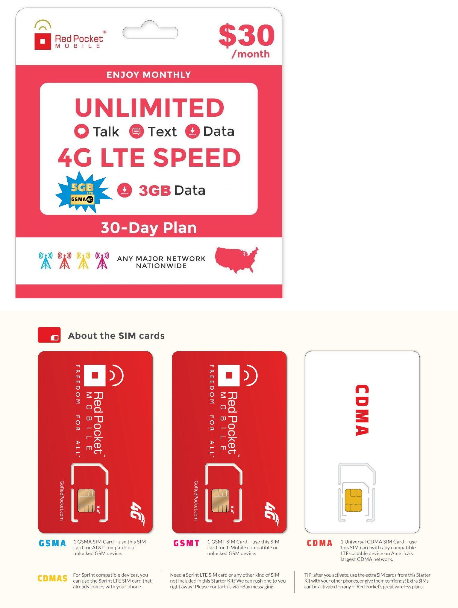 30mo red pocket prepaid wireless phone plansim
