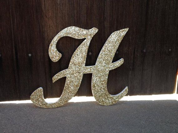 Large Glittery Script Font Letters Custom Glittery Wood Letters 14 Tall Wall Hanging Wedding Decor Nur Sparkle Wedding Lettering Fonts Monogram Letters