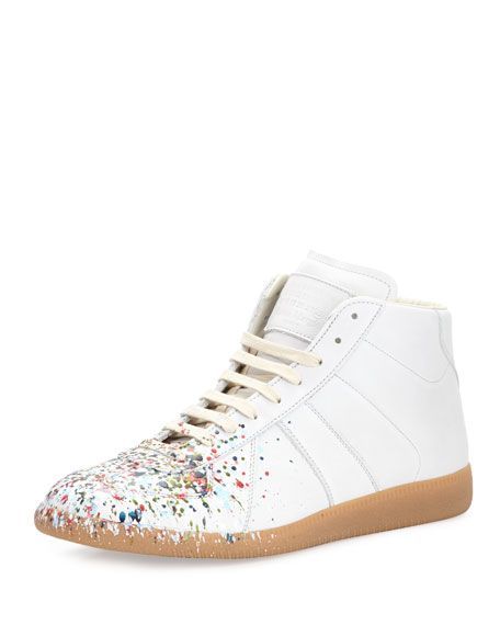 be725dda592 Men's Replica Paint-Splatter Leather Mid-Top Sneakers White in 2019 ...