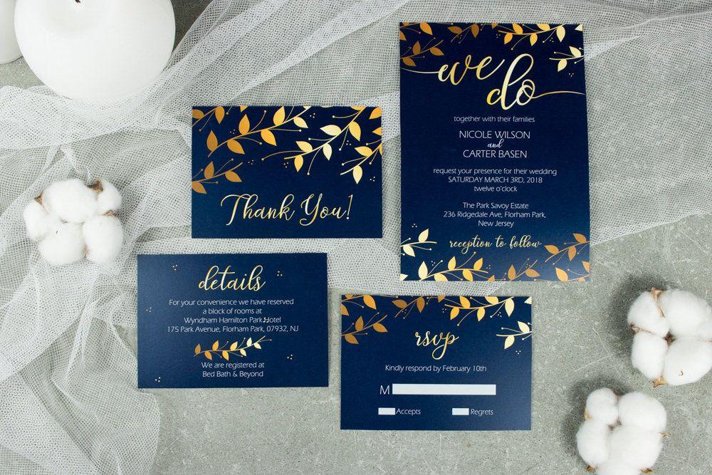 Royal blue wedding invitation Printed navy and
