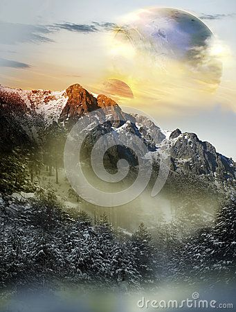 Imaginary alien snowy landscape with two close planets visible behind the mountains.