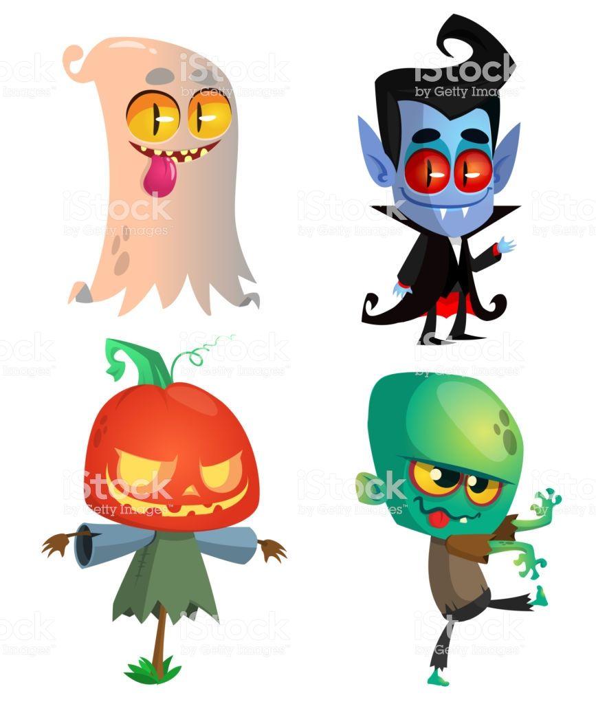 Set Of Halloween Characters Vector Cartoon Ghost Vampire