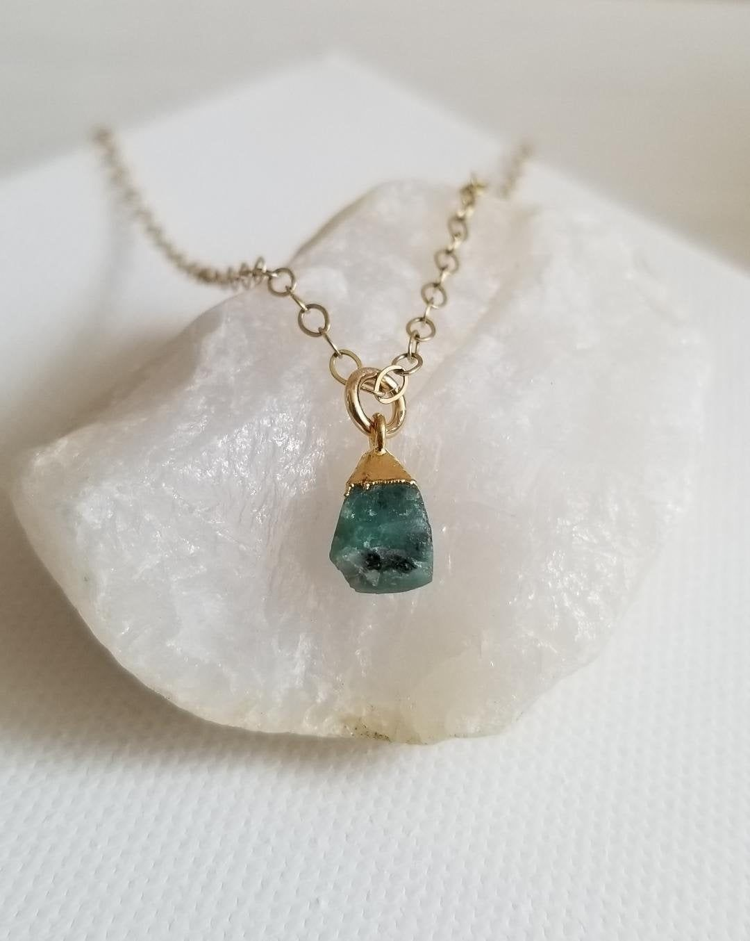 Delicate May Birthday Emerald Necklace