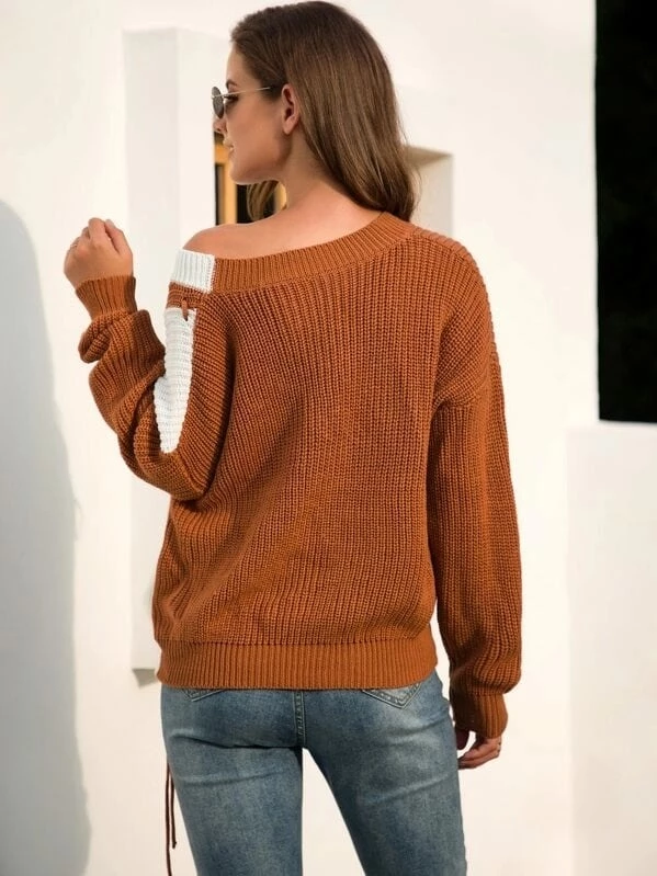 Two Tone Lace Up Detail Chunky Knit Jumper #chunkyknitjumper