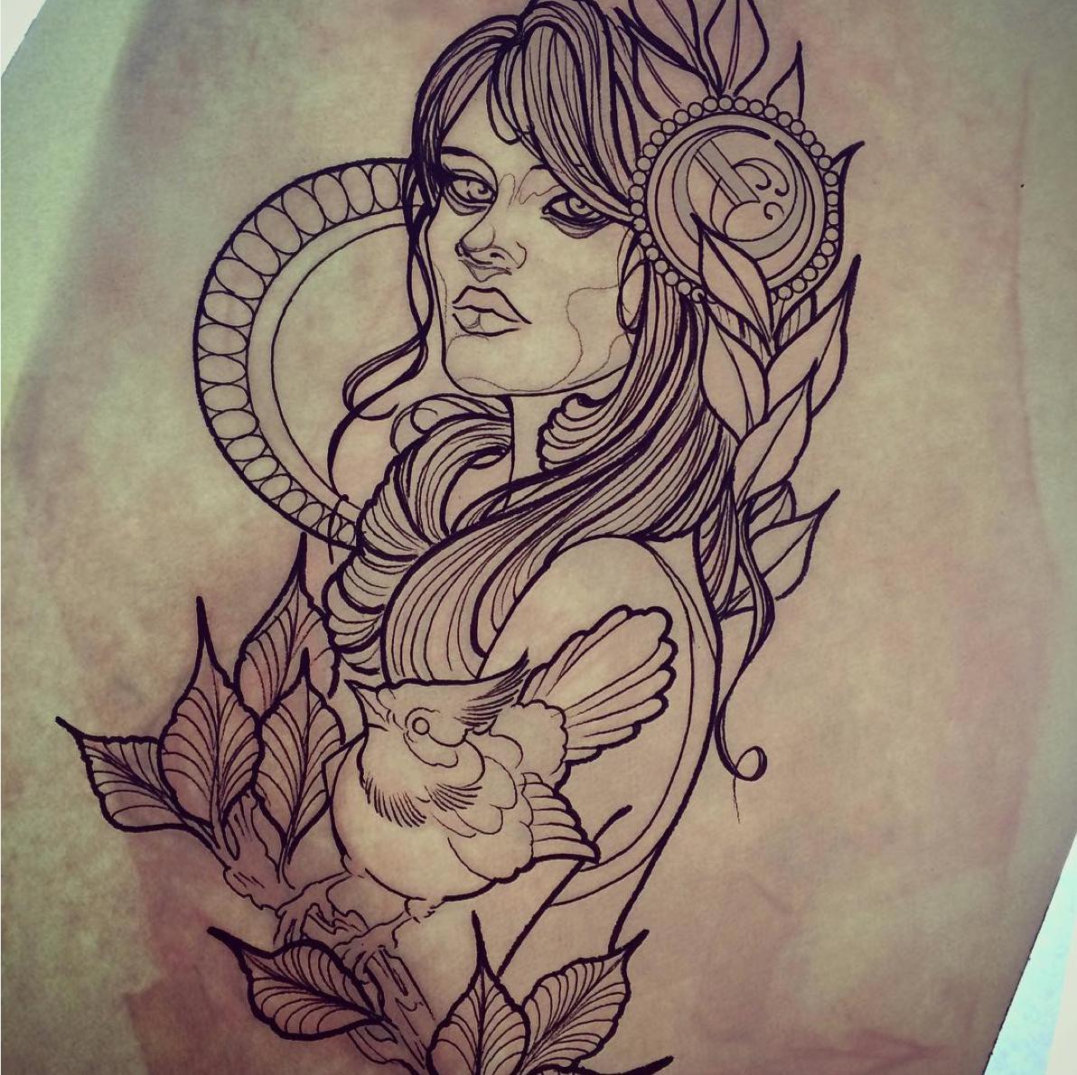 Illustration Woman Woman Girl Neotraditionel Neotraditional Neo Traditionel Draw Drawing Tatt Tattoo Drawings Tattoos For Women Neo Traditional Tattoo