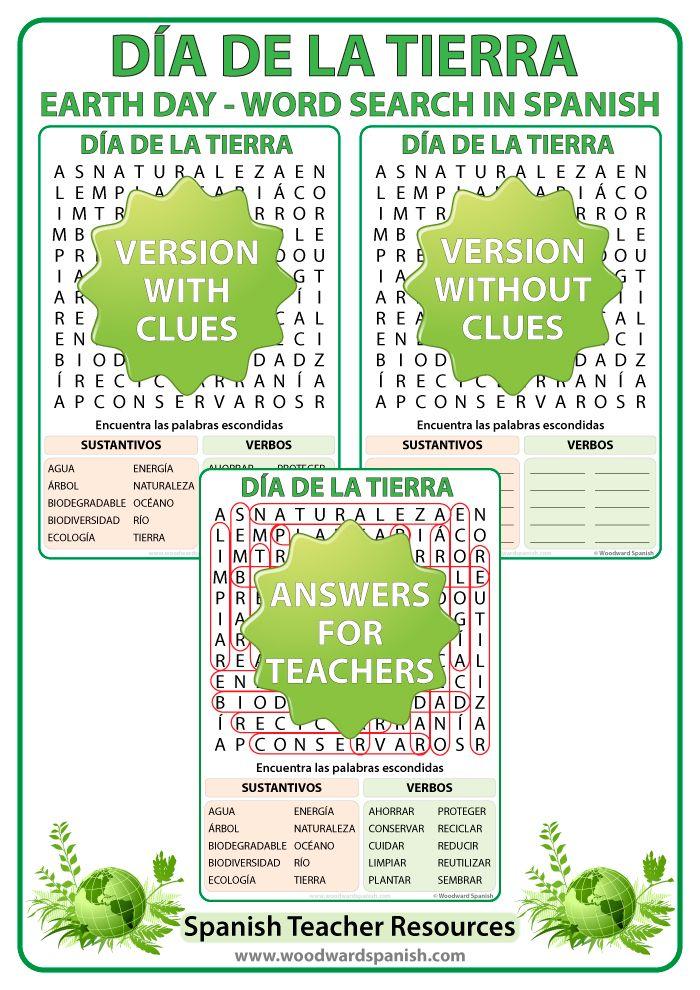 Día de la Tierra - Sopa de Letras - Earth Day in Spanish Word Search - Spanish Teacher Resource.