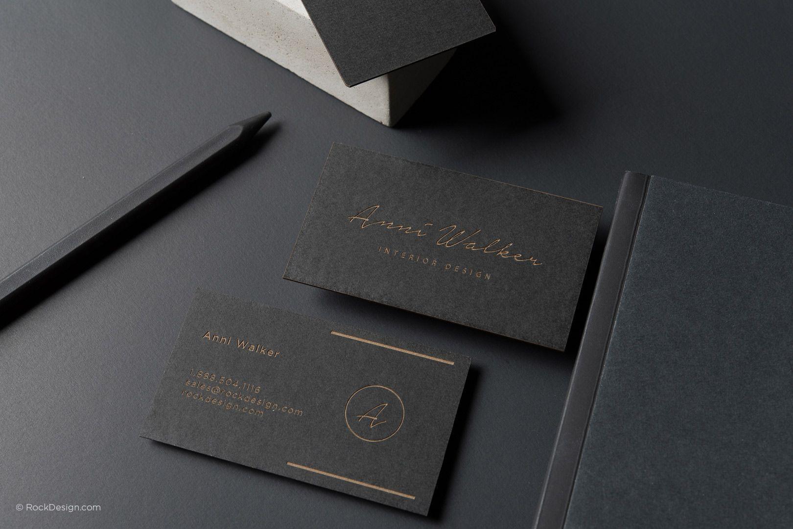 Elegant Modern Laser Engraved Business Card Anni Walker Rockdesign Lu Printing Business Cards Interior Designer Business Card Laser Engraved Business Cards