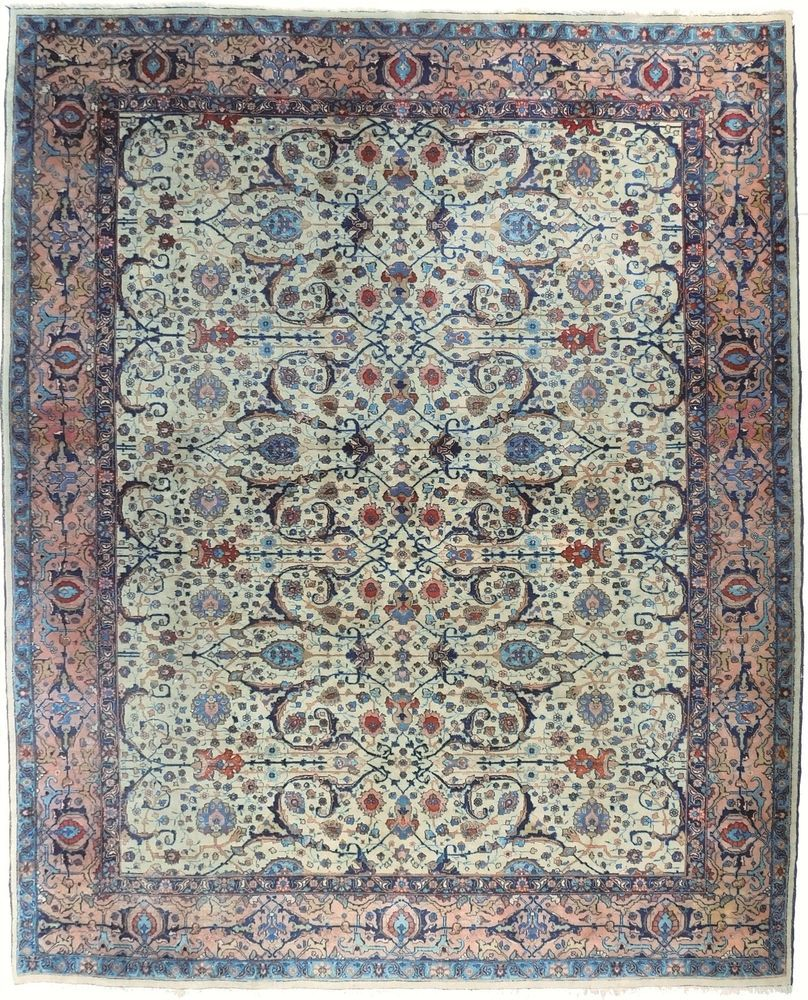 Antique Persian Tabriz Rug 9 10 X 12 8