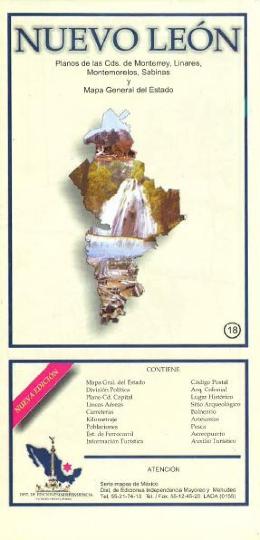 Nuevo Leon Mexico State And Major Cities Map By Ediciones Independencia In 2020 Folded Maps State Map Large Maps