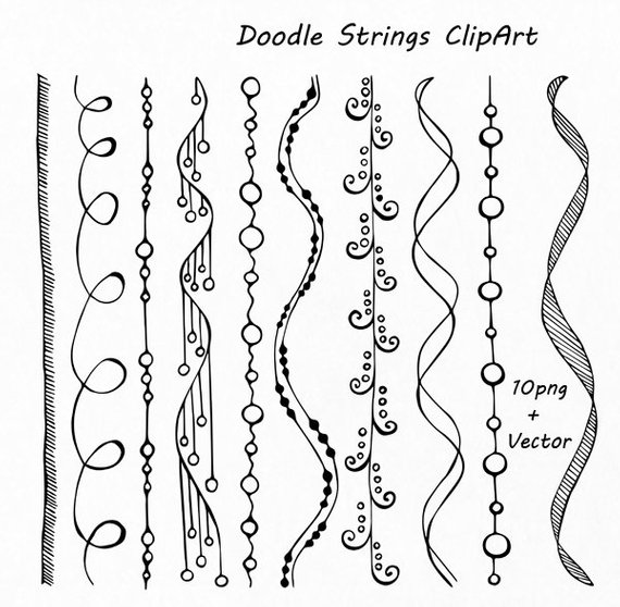 Doodle Strings Clipart, String borders clip art, Digital borders, PNG, EPS, AI (vector) files, Personal and Commercial use clipart