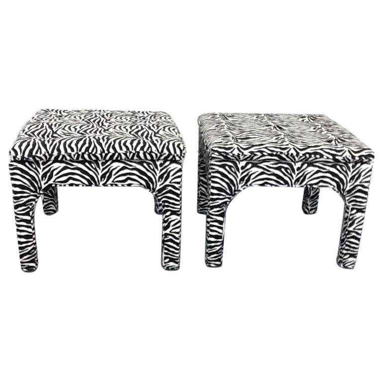Marvelous Pair Zebra Print Benches Ottomans Zebra Prints Zebra Machost Co Dining Chair Design Ideas Machostcouk