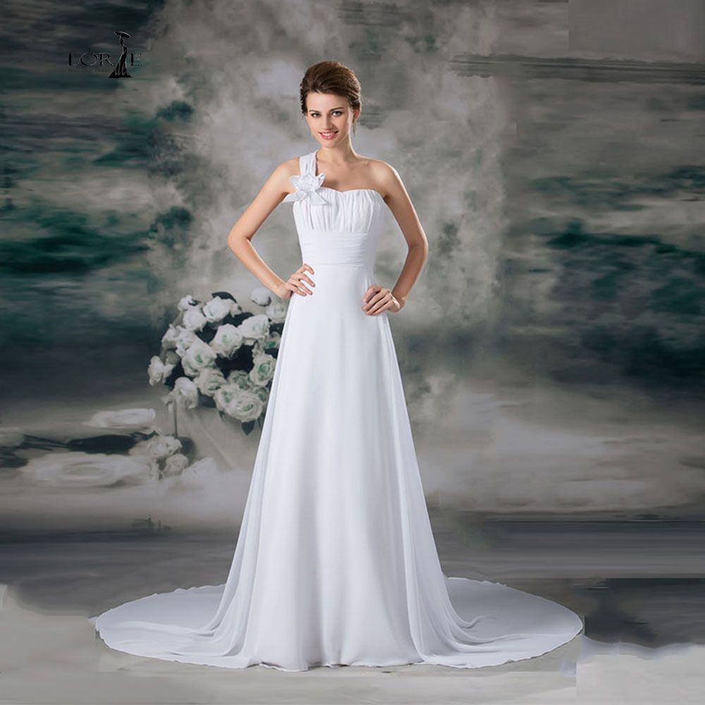 Best Click to Buy uc uc LORIE Chiffon Cheap Wedding Dresses White One