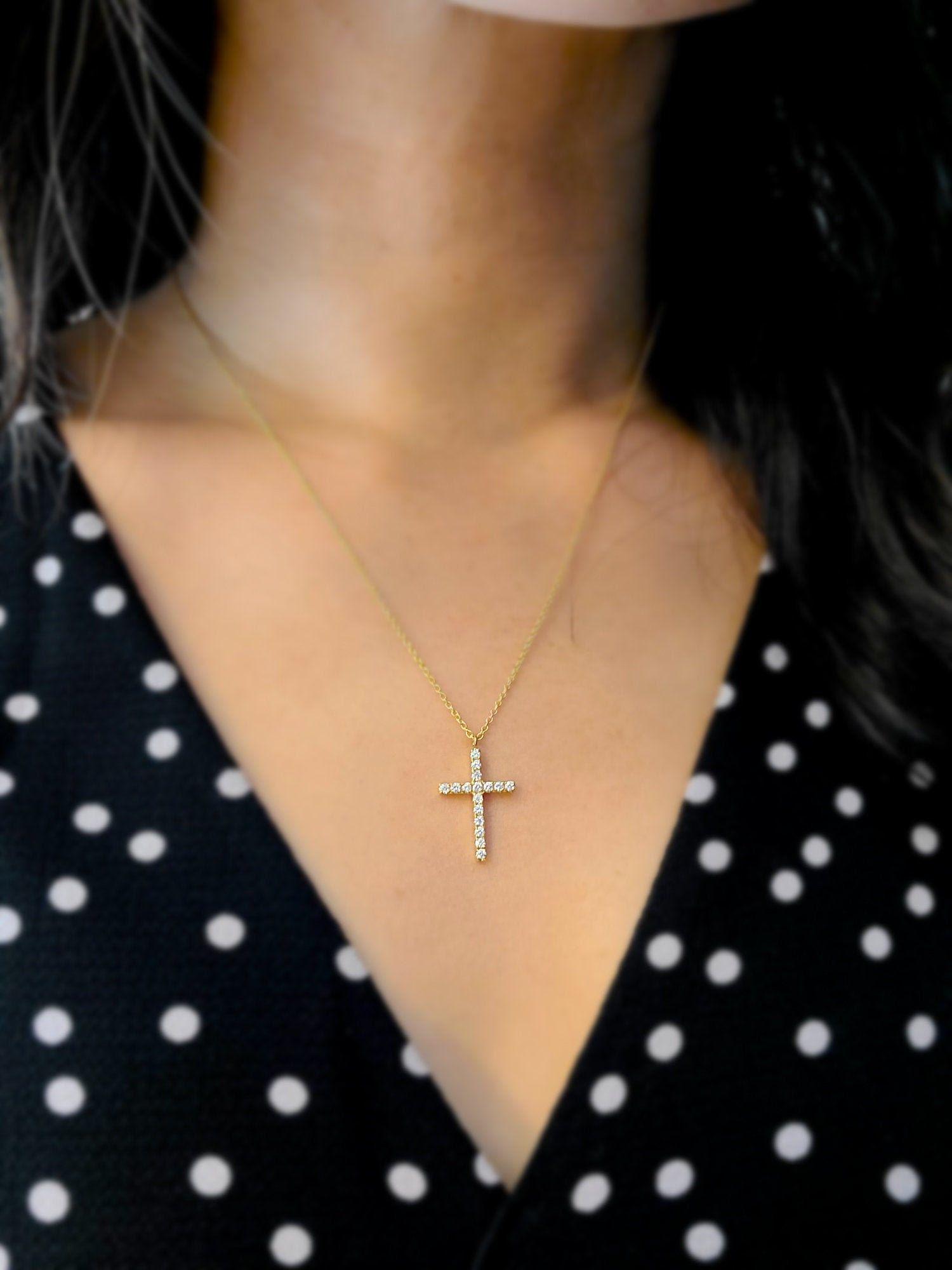 Medium Ii Diamond Cross Necklace Diamond Gold Cross Necklace Etsy In 2021 Cross Necklace Cross Necklace Women White Gold Cross Necklace